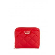 GUESS peněženka Melise Quilted Zip-around Wallet červená vel.