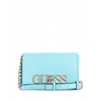 GUESS kabelka Uptown Chic Mini Faux-leather Crossbody turquise vel.