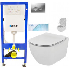 GEBERIT - SET Duofix Sada pro závěsné WC 458.103.00.1 + tlačítko DELTA21 matné + WC TESI se sedátkem SoftClose, AquaBlade (458.103.00.1 21MA TE1)