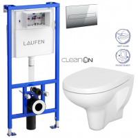 LAUFEN - Rámový podomítkový modul CW1 SET + ovládací tlačítko CHROM + WC CERSANIT ARTECO CLEAN ON + SEDÁTKO (H8946600000001CR AT1)
