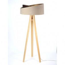 Stojací lampa Awena mix béžová + zlatý vnitřek + dřevěné nohy