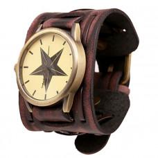 Kožené analogové hodinky Hvězda unisex - 2 barvy Barva: Hnědé