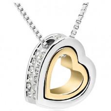 Stříbrný náhrdelník Dvojité srdce - 4 barvy Barva: Zlato-bílý