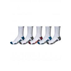 Globe MULTI STRIPE CREW 5P white moderní barevné pánské ponožky - 7-11