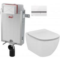 ALCAPLAST - SET Renovmodul - předstěnový instalační systém + tlačítko M1720-1 + WC TESI (AM115/1000 M1720-1 TE3)