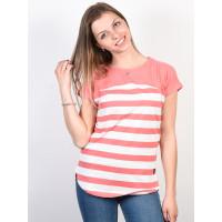 Alife and Kickin CLAIRE Coral Stripes dámské tričko s krátkým rukávem - L