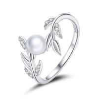 OLIVIE Stříbrný prsten VĚTVIČKA S PERLOU 5132 Velikost prstenů: 7 (EU: 54-56)