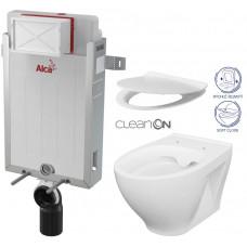 ALCAPLAST - SET Renovmodul - předstěnový instalační systém + WC CERSANIT CLEANON MODUO + SEDÁTKO (AM115/1000 X MO1)