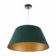 Závěsné svítidlo Velký zvon, zelený + zlatý vnitřek