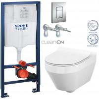 GROHE - Rapid SL Rapid SL pro závěsné WC 38528SET + WC CERSANIT CREA OVÁL CLEAN ON + SEDÁTKO (38772001 CR1)