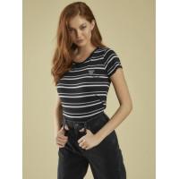 GUESS tričko Reflective Logo Striped Baby Tee černé vel. M