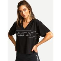 RVCA V BOXY black dámské tričko s krátkým rukávem - S
