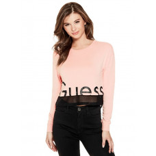 GUESS top Dona Mesh-Trim Logo Pullover pink gloss vel. S