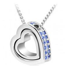 Stříbrný náhrdelník Dvojité srdce - 4 barvy Barva: Modrý