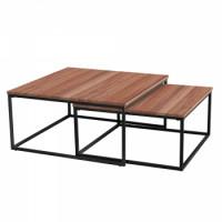 Set dvou konferenčních stolků KASTLER 1 ořech/černá - TempoKondela