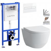 LAUFEN - Rámový podomítkový modul CW1 SET BÍLÁ + ovládací tlačítko BÍLÉ + WC LAUFEN PRO + SEDÁTKO (H8946600000001BI LP3)