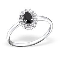 OLIVIE Stříbrný prsten OVÁL BLACK 0689 Velikost prstenů: 8 (EU: 57 - 58)