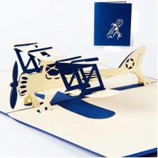 3D přání Modré letadlo