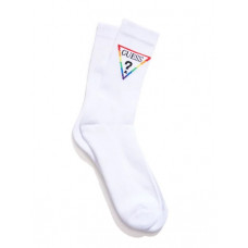 GUESS ponožky Rainbow Logo Crew Socks bílé vel.