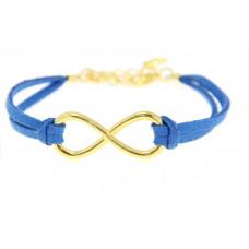 Kožený náramek Zlaté nekonečno - 6 barev Barva: Tmavě modrý
