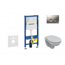 Geberit Sada pro závěsné WC + klozet a sedátko Ideal Standard Quarzo - sada s tlačítkem Delta21, matný chrom 458.103.00.1 NR3