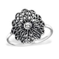 OLIVIE Stříbrný prsten KVĚT s krystalem 0953 Velikost prstenů: 8 (EU: 57 - 58)