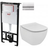 ALCAPLAST - SET Sádromodul - předstěnový instalační systém + tlačítko M1721 + WC TESI (AM101/1120 M1721 TE3)