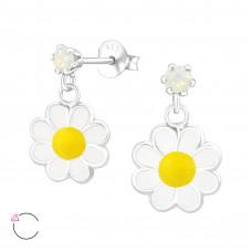 OLIVIE Dětské stříbrné náušnice FLOWER se SWAROVSKI krystaly 0708