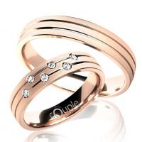 Zlato Snubní prsten Couple Myrtos z růžového zlata