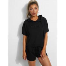 GUESS mikina Short Sleeve Logo Sweatshirt černá vel. S