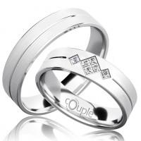 Zlato Snubní prsten Couple Rendezvous z bílého zlata