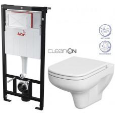 ALCAPLAST - SET Sádromodul - předstěnový instalační systém určený pro suchou instalaci 1,2 m + WC CERSANIT CLEANON COLOUR + SEDÁTKO (AM101/1120 X CN1)