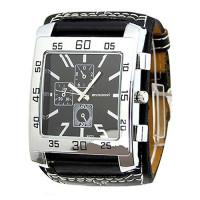 Hranaté hodinky prošívané unisex- 2 barvy Barva: Černá