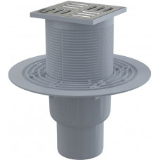 Alcaplast Podlahová vpust 105 × 105/50/75 přímá, mřížka nerez, vodní zápachová uzávěra (APV2311)