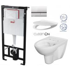 ALCAPLAST - SET Sádromodul - předstěnový instalační systém + tlačítko M1721 + WC CERSANIT CLEANON PARVA + SEDÁTKO (AM101/1120 M1721 PA2)