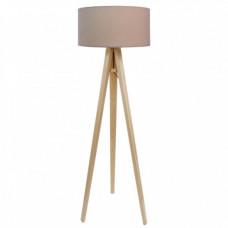 Stojací lampa Luna béžová + zlatý vnitřek + dřevěné nohy