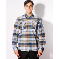 Picture FLINT L/S DARK BLUE/BROWN pánská košile dlouhý rukáv - S