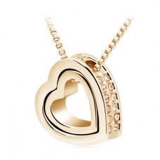 Zlatý náhrdelník Dvojité srdce - 3 barvy Barva: Zlatý