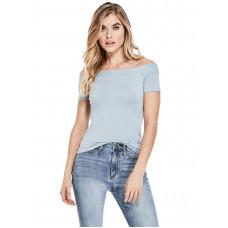 GUESS tričko Norah Off-the-Shoulder Top modré vel. L