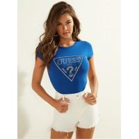GUESS tričko Embellished Logo Tee modré vel. S