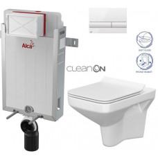 ALCAPLAST - SET Renovmodul - předstěnový instalační systém + tlačítko M1710 + WC CERSANIT CLEANON COMO + SEDÁTKO (AM115/1000 M1710 CO1)