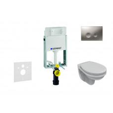 Geberit Sada pro závěsné WC + klozet a sedátko Ideal Standard Quarzo - sada s tlačítkem Delta21, matný chrom 110.100.00.1 NR3