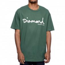 Diamond Supply Co OG SCRIPT TANK forest pánské tričko s krátkým rukávem - L