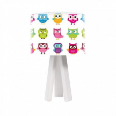 Timberlight Dětská stolní lampa Rainbow Owls + bílý vnitřek + bílé nohy