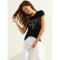 GUESS tričko Embellished Logo Tee černé vel. S
