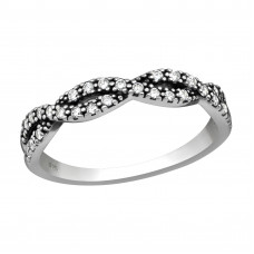 OLIVIE Stříbrný propletený prsten se zirkony 2481 Velikost prstenů: 7 (EU: 54 - 56)