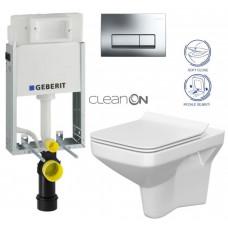 GEBERIT - SET GEBERIT - KOMBIFIXBasic včetně ovládacího tlačítka DELTA 51 CR pro závěsné WC COMO CLEAN ON + SEDÁTKO (110.100.00.1 51CR CO1)