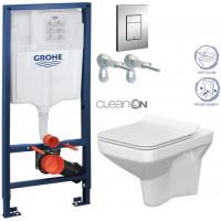 GROHE - Rapid SL Rapid SL pro závěsné WC 38528SET + WC CERSANIT COMO CLEAN ON + SEDÁTKO (38772001 CO1)