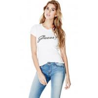GUESS tričko Short-Sleeve Script Logo Tee bílé vel. S