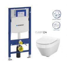 GEBERIT - SET Duofix pro závěsné WC 111.300.00.5 CR + klozet a sedátko CERSANIT CREA OVAL CLEANON /K114-015+K98-0177/ (111.300.00.5 CR1)